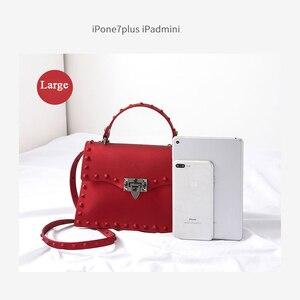 Image 4 - Rivet Women Messenger Bags Luxury Handbags Women Bags Designer PVC Jelly Bag Fashion Shoulder Bag Females PU Leather Handbags