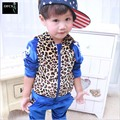 2016 New Baby Kids Tracksuit Fashion Leopard Grain Best Quality Velvet Hoodies + Pants Casual Boys Girls Sport Set Children Suit