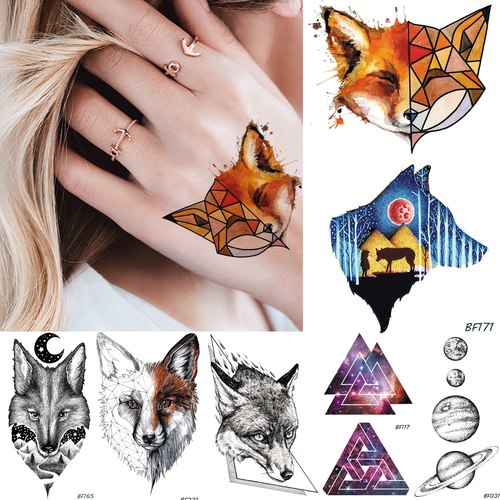 Baofuli Watercolor Geometric Fox Forest Wolf Waterproof Triangle Temporary Tattoos Sticker Star Tatoos Body Arm Planets