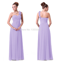 2015 HE09768 Sapphire Blue Flowers Shoulder Chiffon Padded Long Floor Length One Bridemaid Purple Prom Dresses