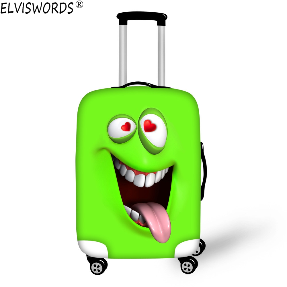 ELVISWORDS Funny 3D Emoji Face Print Luggage Cove Waterproof Bag Elastic Stretch Protect Suitcase Covers Apply to 18-30inch Case