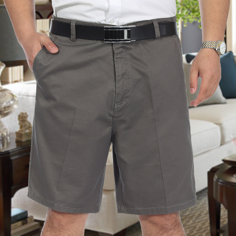 Men Summer Trousers Shorts Bottoms Male Straight Plus-Size Pure-Cotton Solid Loose 29-44
