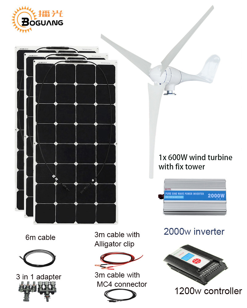 BOGUANG 600W Wind Turbine 300W solar panel hybrid wind solar power system home module mobile dc 12v/24v wind and solar power wind and solar hybrid controller 600w with lcd display charge controller for 600w wind turbine and 300w solar panel 12v 24v