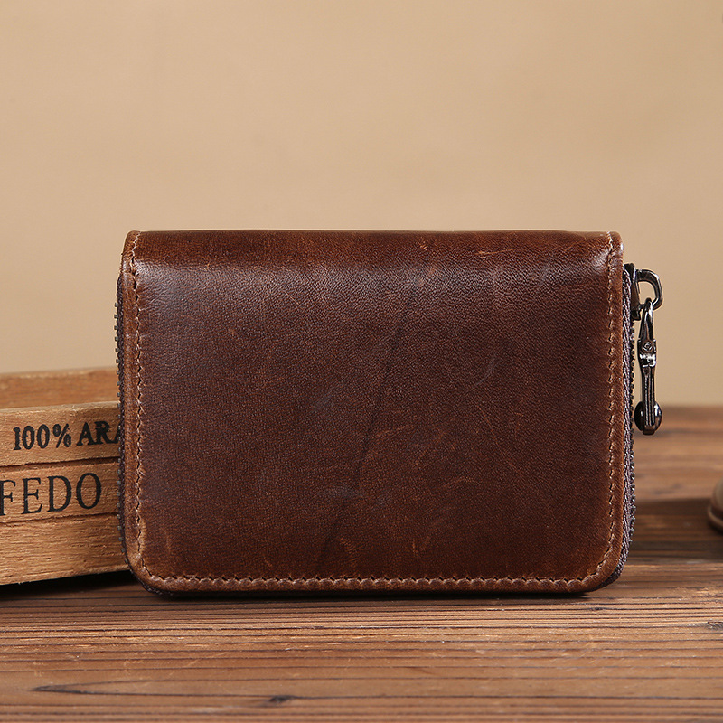 Genuine Leather Coin Purse Multi Pocket Zipper Credit Bank Card Slots Short Coin Wallet Organizer LS0197 etya bank credit card holder card cover