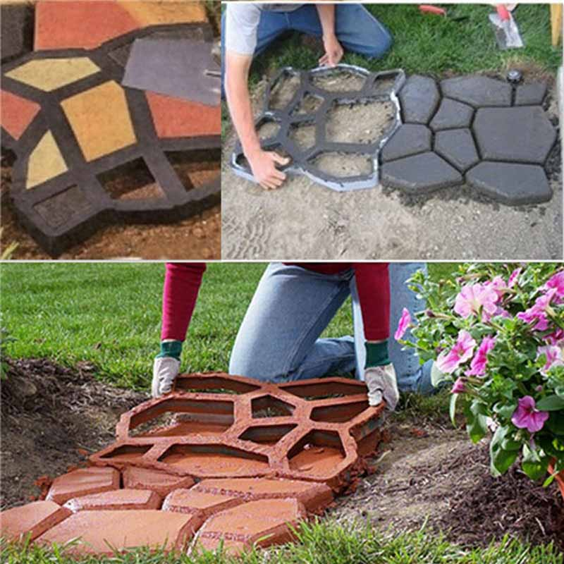 1Pcs DIY Plastic Path Maker Mold Manually Paving Cement Brick Molds The Stone Road Auxiliary Tools For Garden Decor