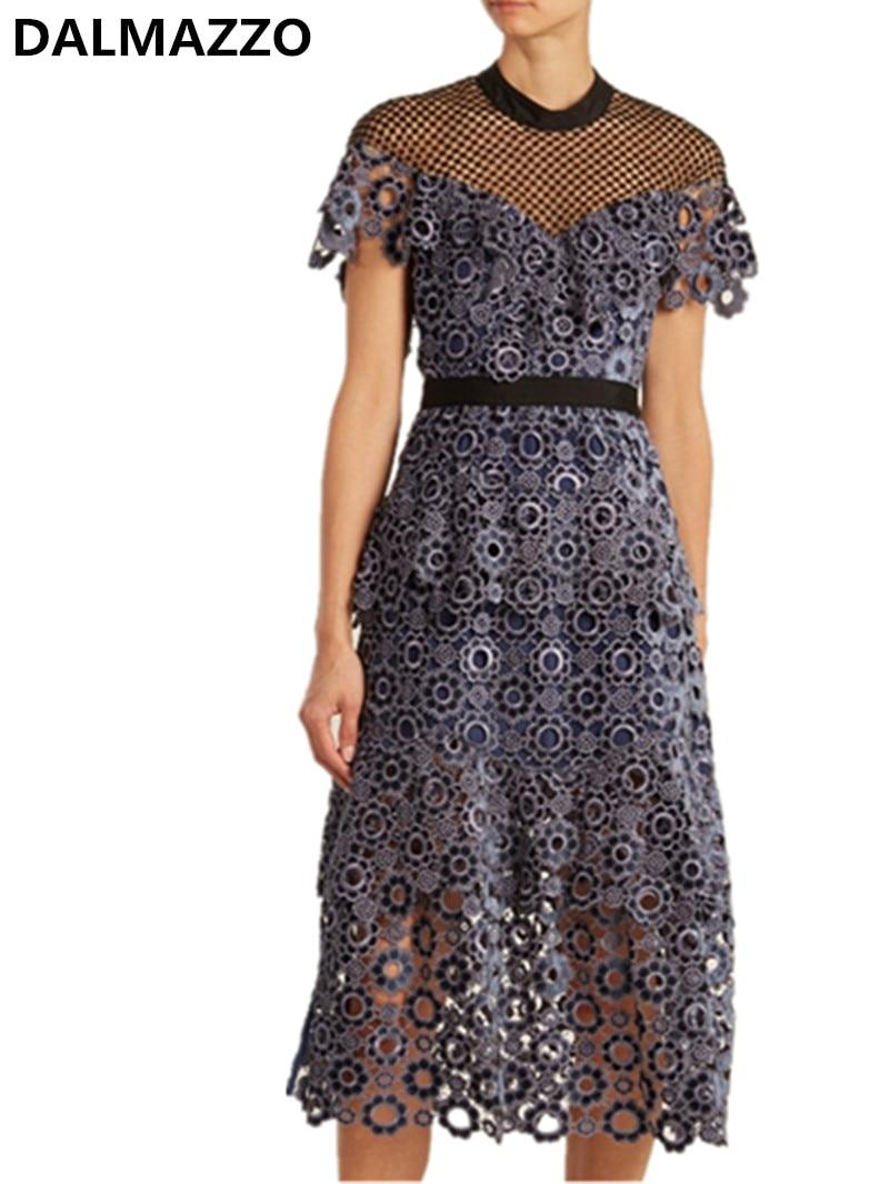 Haut de gamme conception femmes marque auto-portrait à manches courtes dentelle maille Patchwork broderie longues robes piste dame robe de soirée