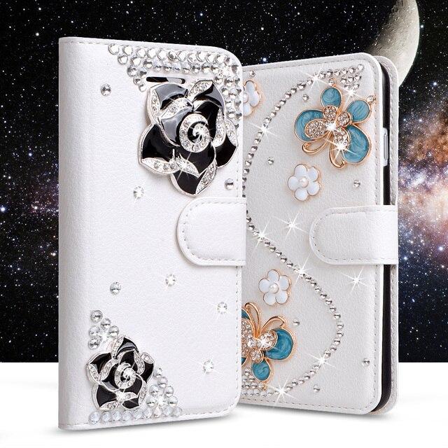 best service 3e8fc 30b5d US $7.53 30% OFF|Rhinestone Case For Samsung Galaxy J7 Prime Glitter  Diamond Leather Case For Samsung Galaxy On Nxt Flip Wallet Crystal Cover-in  ...