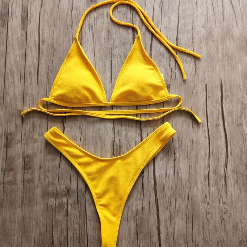 Brazilian Girls Swimming Suits Bikini Small Cup+ High Cut Style Beach Biquini Solid Black/White Micro Swim Suits Thong Bikinis
