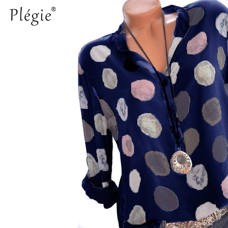 Plegie Womens Tops And Blouses 2018 Women Spring Blusas Shirt Dot Printed Long Sleeves Office Lady Blouse Shirts Blusa Plus Size 2