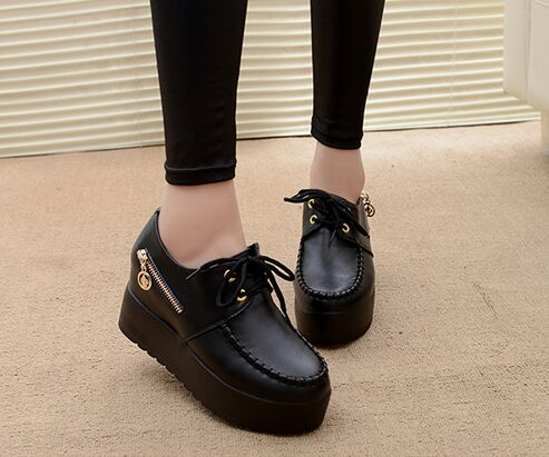 2016 Women's Creepers Solid Lace-up PU Leather Flat Shoes Stitching Platform Shoes Woman Spring Summer Fashion Flats lanshulan bling glitters slippers 2017 summer flip flops platform shoes woman creepers slip on flats casual wedges gold