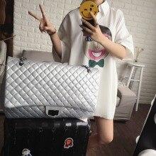Saco maxi jumbo bolsa de ombro de alta qualidade sacos de mulheres mensageiro marca de couro grande jumbo flap bag preto branco de prata cadeias bolsa(China (Mainland))