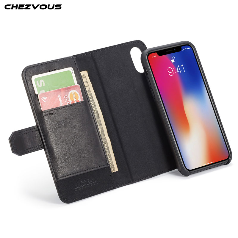 CHEZVOUS Brand Wallet Case for iPhone X Luxury PU Leather Silicone Flip Card Slots Cover 10 Phone Bags