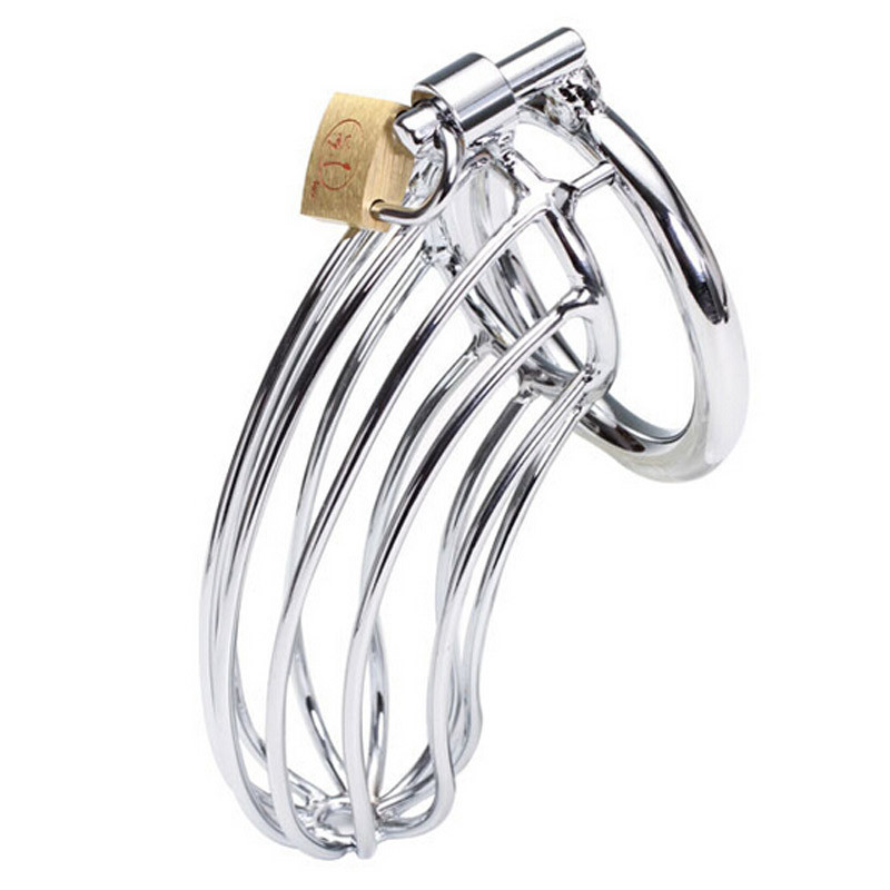 Stainless Steel Male Chastity Device Penis Ring Cock Cage Virginity Lock Rings Sex Toys for Men 40mm/45mm/50mm 3