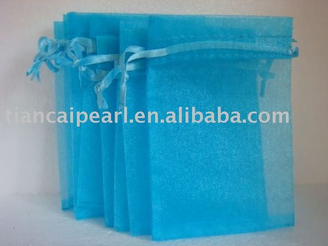 2017---free shipping  100 pcs  wholesale sky  blue   color     Organza Jewelry Wedding Gift Bag
