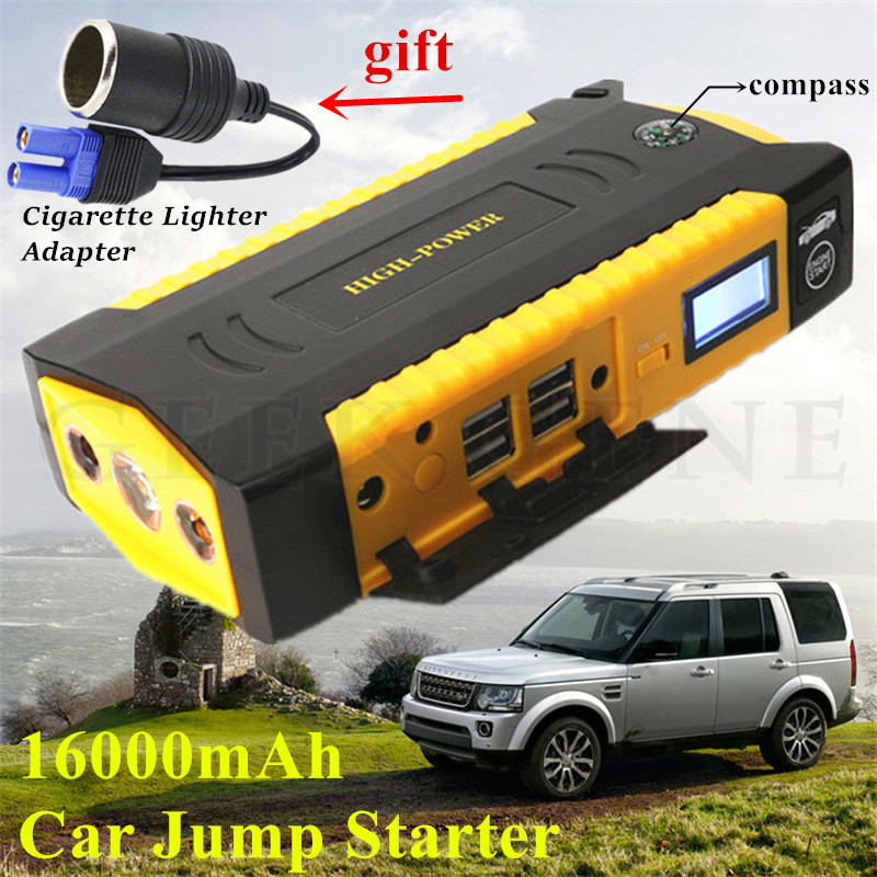Portable 12V 16000mAh Car Jump Starter 600A Car Battery Charger for Jump Booster for Car Camping for volkswagen Starting Device practical 89800mah 12v 4usb car battery charger starting car jump starter booster power bank tool kit for auto starting device
