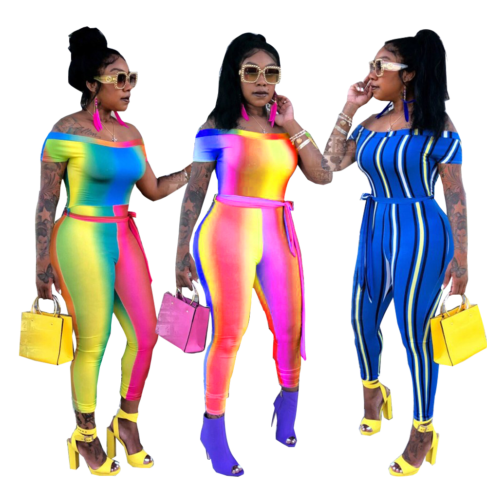 Summer Slash Neck Sexy Bodycon Jumpsuits Lady Short Sleeve Bow Sashes Casual Romper Rainbow Gradient Ramp/Striped Overall LD608