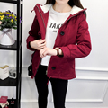 2017 Nuevas chaquetas de las mujeres 2 colores de algodón bolsillos de manga larga con capucha de lana de cordero gruesa de gran tamaño de piel de oveja de moda chaqueta de las mujeres