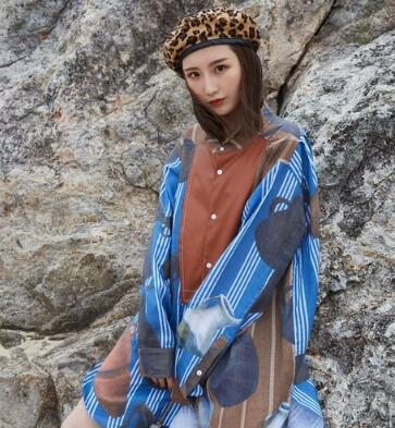 Long Tendance Pour Cuir Zo042 Printemps Blue Robe National Chemise Patchwork Ethnique Style Striped Pu Femmes wHcqXYB