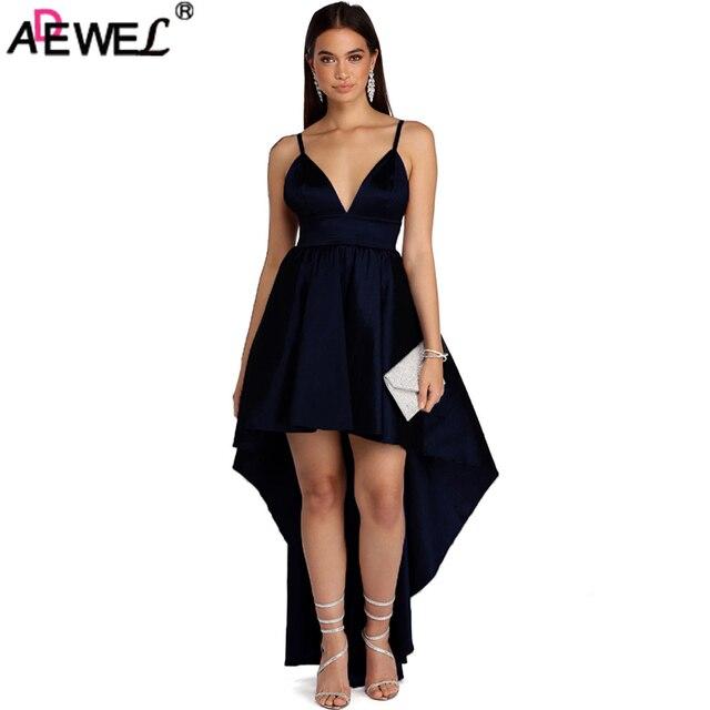 Adewel 2018 New Sexy Black Women Long Party Dress V Neck Adjustable