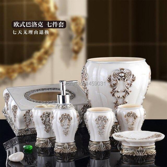 Exported Vintage Bathroom Set 7 Piece Perfect Toilet Sets Bathroom 7pcs/set  With Tissue Box