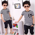 Baby&Kids Summer Sailor Children Clothing Sets Stripe Short Sleeve T-shirt Tops Pants Outfit Kids Boys Clothing Suit