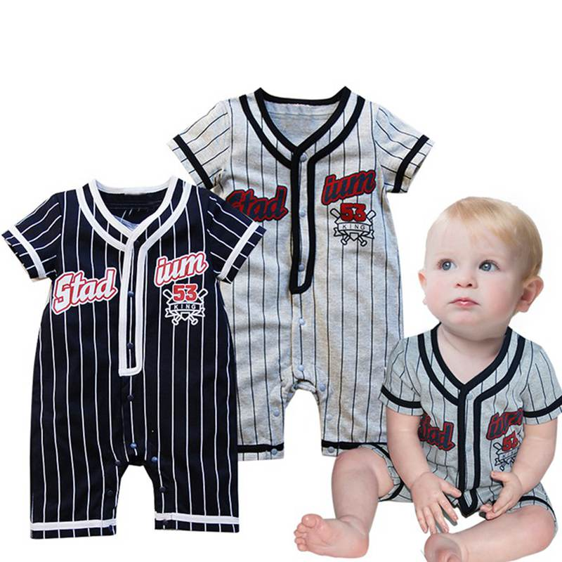 Cool Baseball Black Body Baby Boy Short Sleeve Romper 2017 Summer Kids Clothes Macacao Bebe Jumpsuit Overalls Infant Clothing infant baby girl rompers jumpsuit long sleeve for newborns baby boy brand clothing bebe boy clothes body romper baby overalls