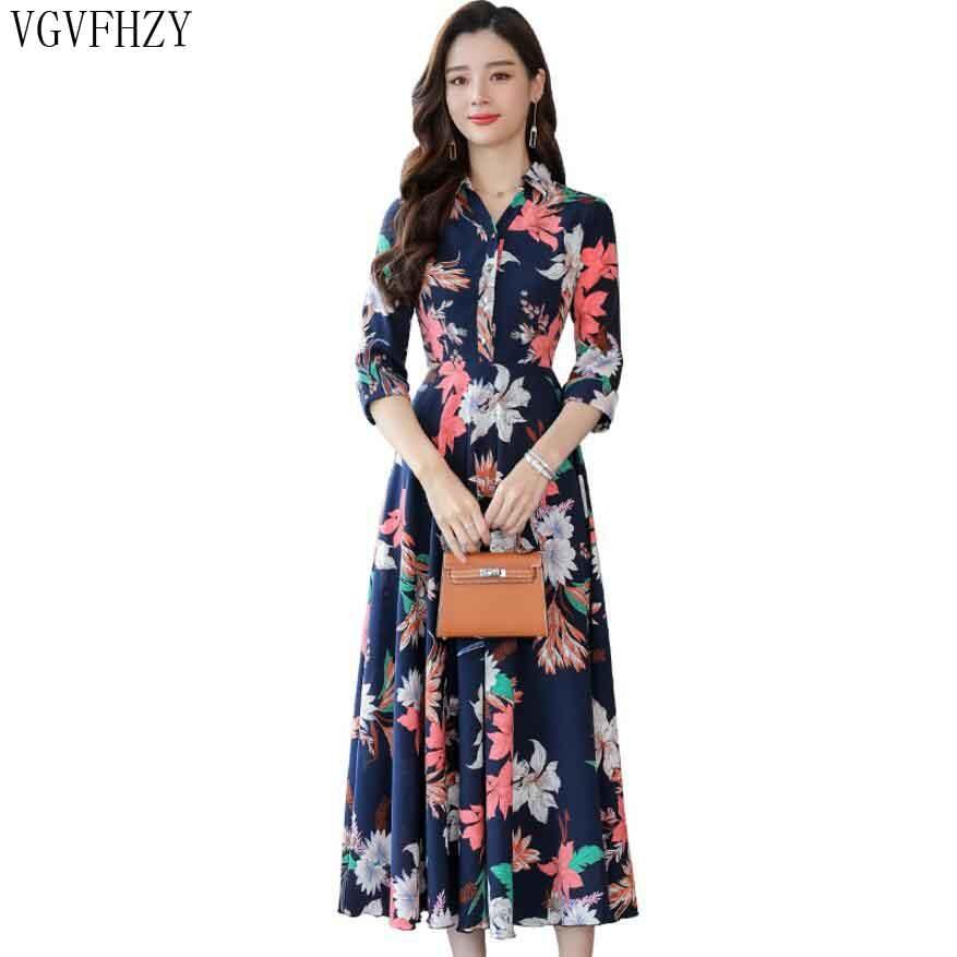 00c7cb3fcd9dc1c 2019 богемное женское, летнее, шифоновое Платья Плюс Размеры Плиссированное длинное  платье Цветочный принт семь четверти рукав пляжное плать.