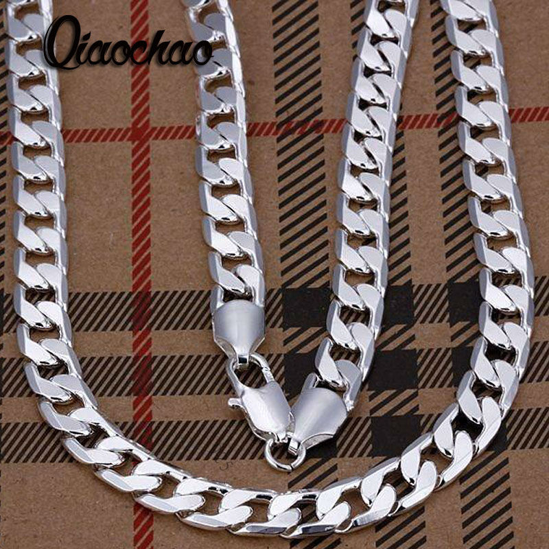 SALE wholesale 8mm width Silver plated man jewelries fashion silver jewerly 16-24 inches mens chain curb necklaces X86