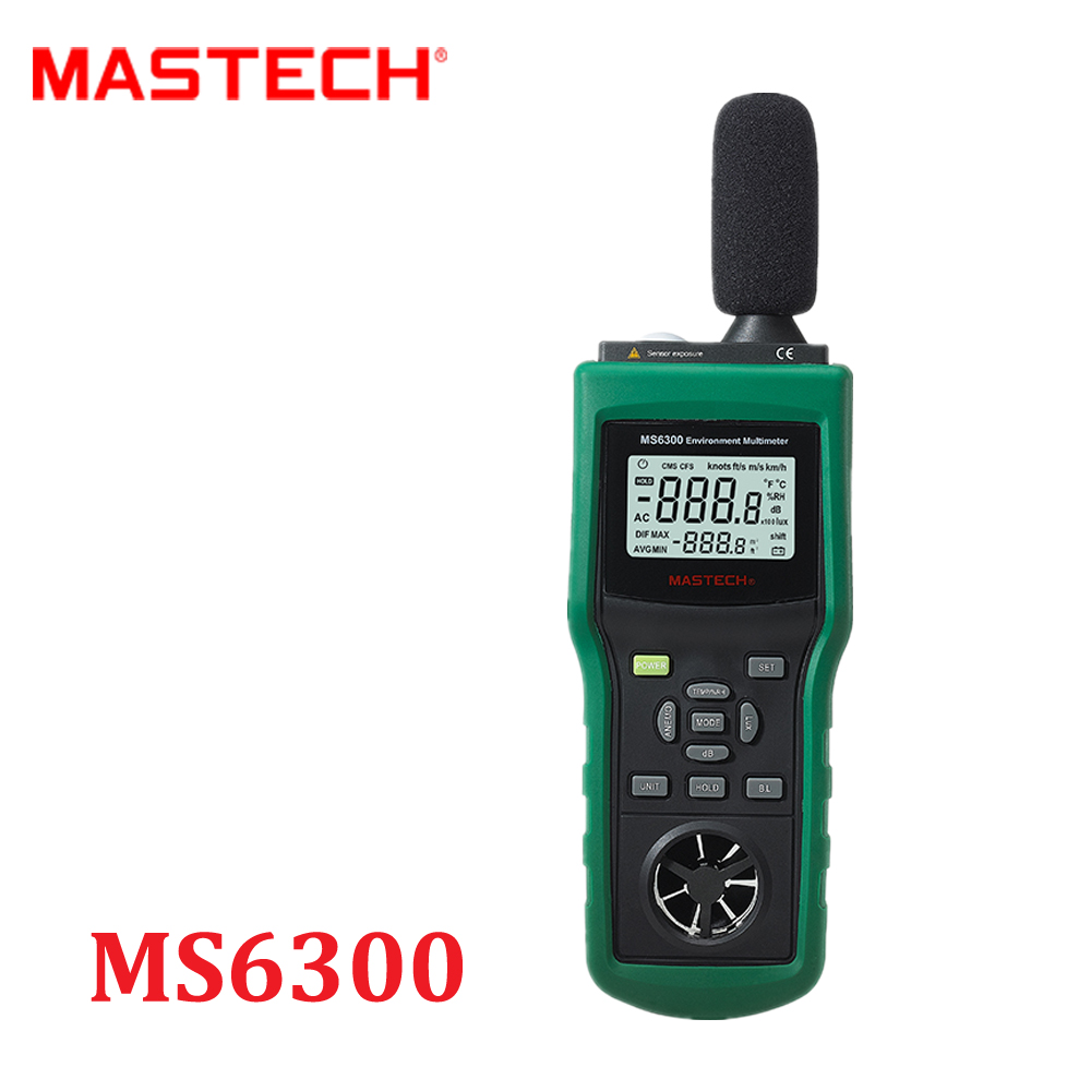 Mastech MS6300 Digital Multifunction Environment tester Meter Temperature Humidity Sound Air Flow Tester luminometer Anemometer  цены