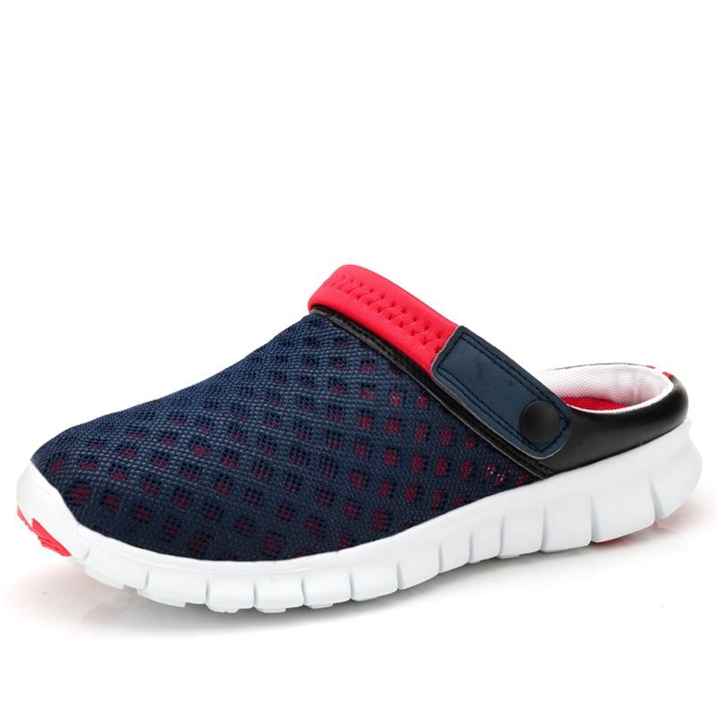 купить 2018 New Men's Sandals Summer Shoes Breathable Men Slippers Mesh Lighted Casual Outdoor Slip On Shoes Beach Flip Flops онлайн