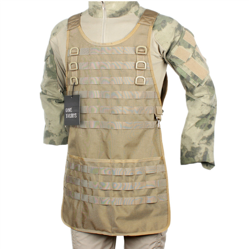 ФОТО OneTigris Nylon Tactical MOLLE System Barbeque Apron for Chef and Mechanic Perfect Functional BBQ Aprons for Outdoor Camping
