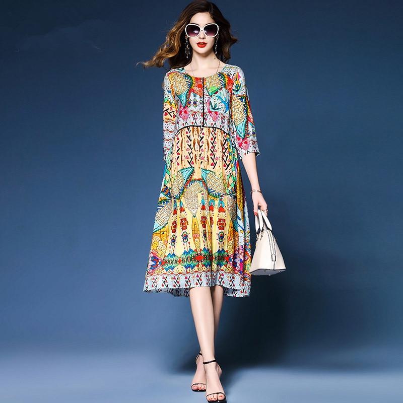 Spring Summer Lady Elegant Multicolor Retro Print Dresses Three Quarter Sleeve High Quality Faux Silk Women Weekend Casual Dress