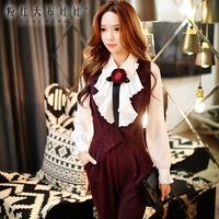 Long Sleeved Shirt Girl Pink Doll 2016 Autumn New Fashion Agaric With Flowers Temperament White Shirt