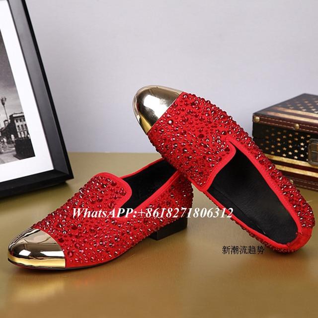 Mens Dress Shoes 2017 Big Size 36-46 Gold Metallic Toe Luxury Velvet Loafers Crystal Rivet Studded Black Red Men's Wedding Shoes
