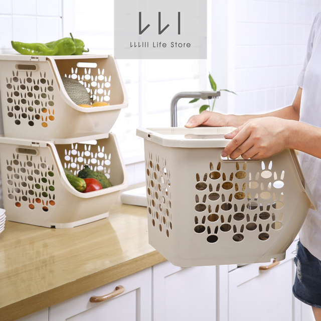 fruit basket for kitchen granite top cart cover with racks plastic storage baskets stackable hollow supplies