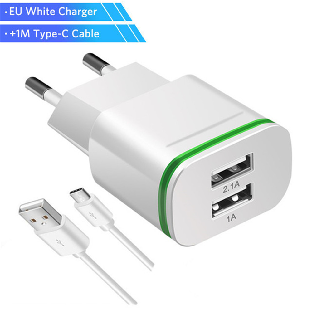 USB Type C Cable Charger 5V 2.1A For Xiaomi Mi 5 6 7 8 5X A1 6X A2 MIX 2S USB Type-C Wall Charger Dual Mobile Phone Charger