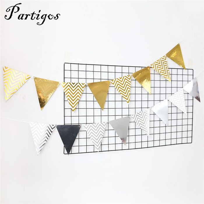 1pack 6 style gold silver Stripes and dots Birthday Decor party Banner flag Baby Shower wedding decoration Party Supplies