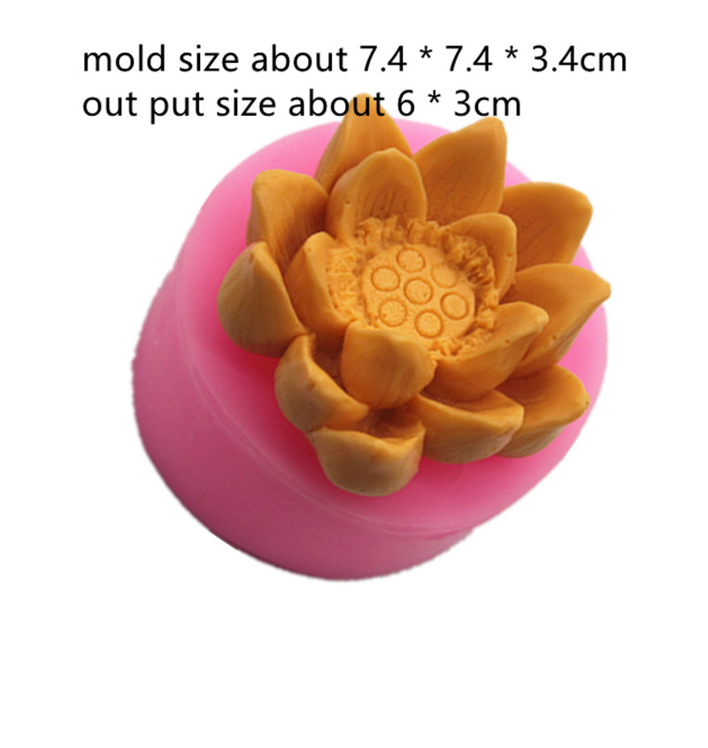 3D lotus flower Candle mold chocolate turning sugar mould DIY Craft Candle Making Food Grade Silicone Mold in Clay Molds from Home Garden
