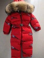 2018 Зимний Детский пуховик Детские утка вниз костюм верхняя одежда с меховым капюшоном детская зимняя пуховики Детский комбинезон лыжный