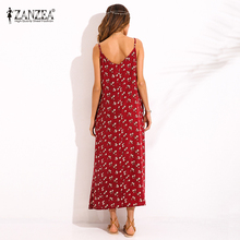 2018 ZANZEA Boho Womens Floral Print V Neck Sleeveless Sundress Summer Beach Evening Strappy Pockets Maxi Long Dress Vestidos