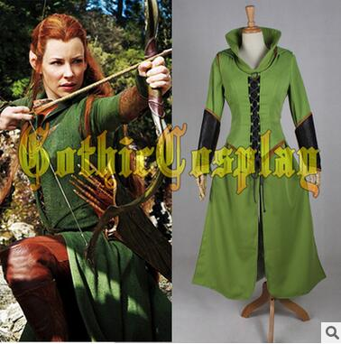 Customized movie The Hobbit cosplay Elf Tauriel Outfit Cosplay Costume for The Hobbit 2 / 3 Cosplay Tauriel costume