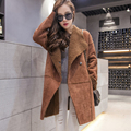 Korean winter camel deerskin long plus size thick cotton coat solid color warm female lamb hair elegant oversize parkas MZ1084