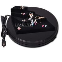 Black 10 Inches Diameter Black Heavy Duty Rotating Display Stand Rotary Turntable With LED Light 10KG
