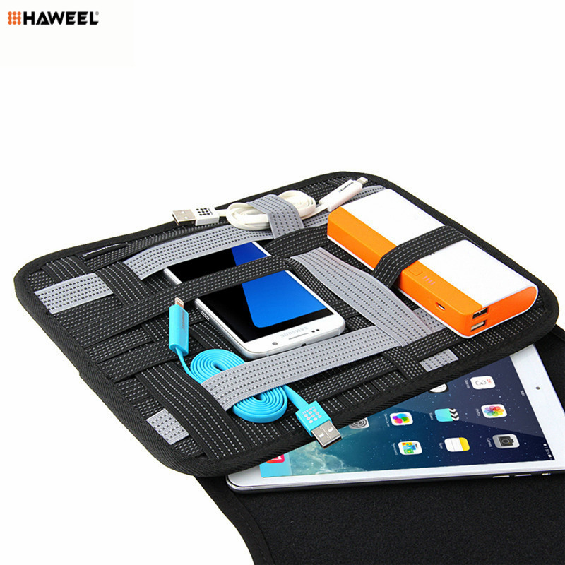 HAWEEL Neoprene Travel Organizer Bag Electronics Accessories Case Storage Handbag Large Capacity Space for iPad Laptop 10 inch bubm storage bag deluxe travel case for playstation vr psvr headset and accessories waterproof dustproof shockproof handbag
