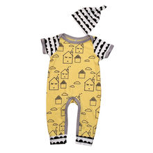 Newborn Infant Baby Boy Girl Tops Cotton Short Sleeve Romper Jumpsuit Hat Outfits Set Clothes 0-18M
