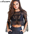 WINDGIRL Elegant Black lace blouse shirt Women Flare sleeve Casual blouse Spring Summer hollow out short top blouse blusas