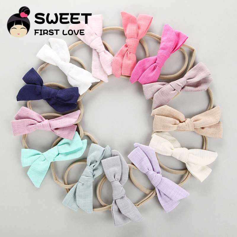 50pcs Girls Nylon Headband Hair Bows Elastic Bowknot Hairband for Children Kids Toddler Hair Accessories Headwear