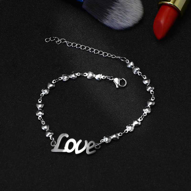 Martick Romantic Creative Anklets Link Chain With Love Letters Anklets For Women Europe Brand Jewelry Ank12