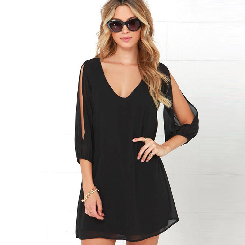 Fashion chiffon sexy dress Women Casual 3/4 Sleeve V-neck Evening Party beach Short Mini summer Dress elegant solid color jurken