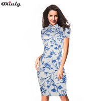 Oxiuly Bleu et Blanc Porcelaine Fleur Imprimer Slim Gaine Robe Dames de Bureau Work Wear Business Party Moulante Longueur Au Genou Robe